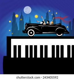 old new york background, piano and car