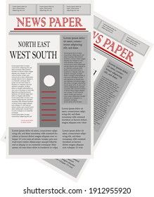 Old newspaper, illustration, vector on a white background.