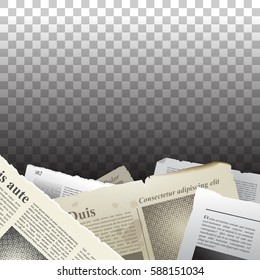 Old newspapers with ragged edges on transparent background. Vintage element for your design. Vector eps 10.