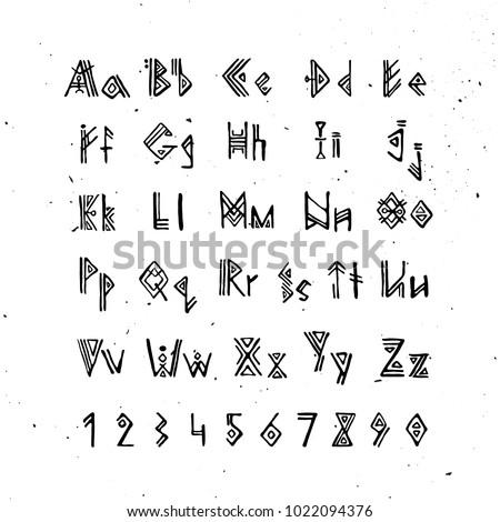 Alphabet Viking old norse scandinavian font runic alphabet stock vector (royalty