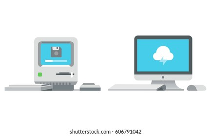 Old obsolete computer icon and new modern monitor icon isolated on white background. Computer iMac evolution concept in flat design. Vector illusration