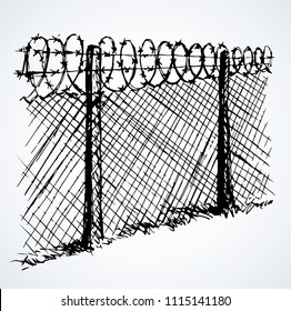 Old obstacle spiral spike shape row cage on white sky backdrop. Outline black ink hand drawn abstract picture sign concept sketchy in retro art scribble cartoon style pen on paper with space for text