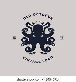 old octopus vintage logo silhouette