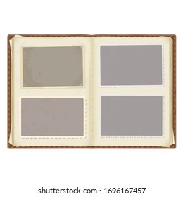 an old open photo album in a leather cover. photo templates with patterned edges in the grunge style. the corners are fixed with tape. isolated on a white background