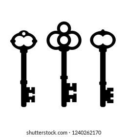 Old ornate key icon set illustration isolated on white background