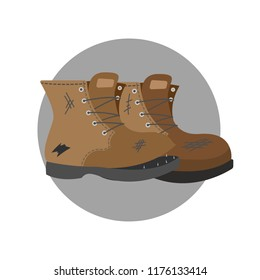 Old pair of brown shoes. Torn boots need repair. Isolated vector flat illustration