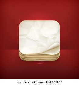 Old paper app icon, vector