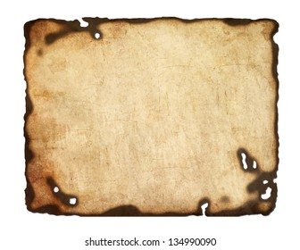 Old  paper with burnt edges isolated on white background. Vector  eps8