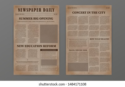 Old paper newspaper template. Vintage news articles old design. Vector newsprint magazine set brochure newspaper pages with headline. Retro paper grunge journal illustration