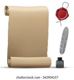 Old paper roll, wax seal and feather pen isolated on white. Vector illustration