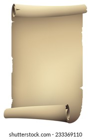 old paper rolled banner , vector drawing