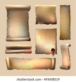 Old paper scroll set with sheets of different size wax seal on beige background isolated vector illustration