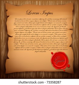 Old paper with sealing wax stamp on wooden background