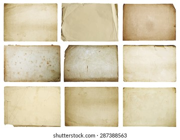 old papers set isolated, vector