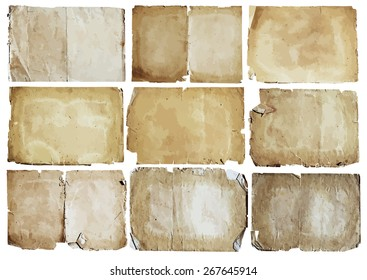 old papers set, vector