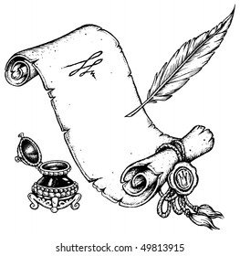 Old Parchment with Feather and Inkwell