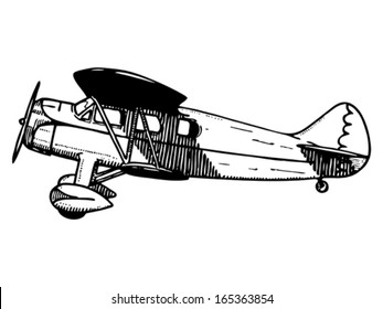 Old passenger plane. Vintage style vector illustration.