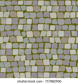 Old Paving Stones with moss and turf. Road Texture seamless pattern. wall of stone, cobbled street with grass