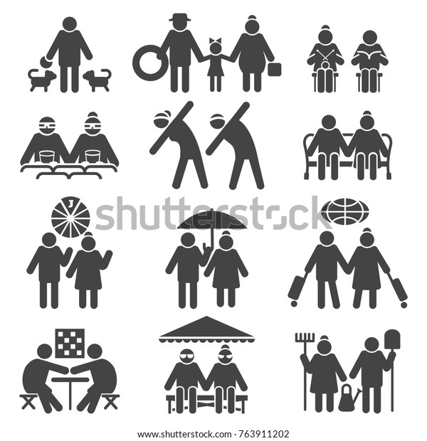Old People Active Lifestyle Elderly Couple Stock Vector