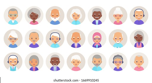 Old people avatar. Vector.  Elderly person, seniors icons in flat design. Set happy grandfathers and grandmothers faces. Group retired grandparents characters isolated in circles. Cartoon illustration