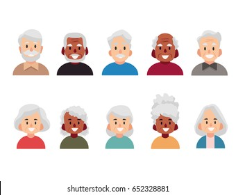 Old people cartoon avatars set. Isolated vector illustration of diverse senior characters