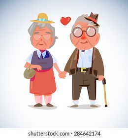 Old people couple hold hand together - vector illustration