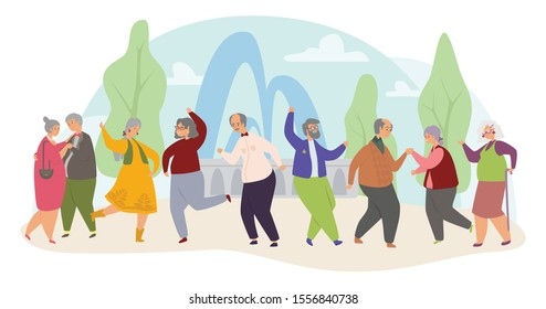 Old people dance flat vector illustration. Elderly men and women actively spend time. Grandfather and grandmothers leisure concept, pensioners disco in the park. Senior people have fun in nursing home