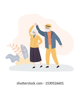 Old people dance. Grandmother and grandfather entertainment. Happy active elderly couple. Retirement activities concept. Trendy style vector illustration