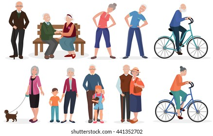 Old people in different activities situations collection. Old Grandparents couples together.
