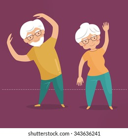 Old people doing exercises. Grandparents. Sport. Vector isolated illustration. Cartoon character.