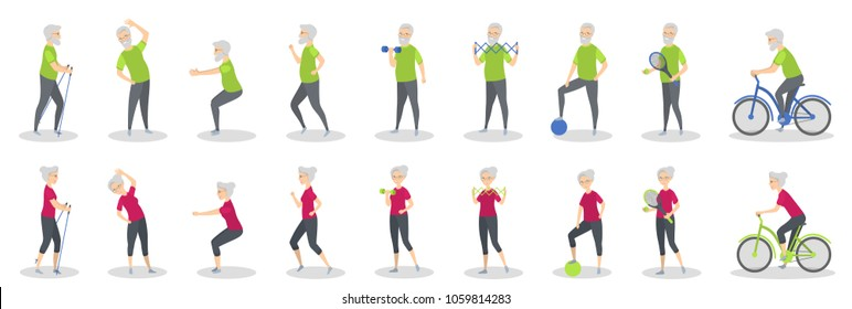 Old people doing sport with equipment on white.
