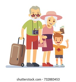 Old people with grandson travelers on holiday. Smiling grandparents on vacation. Happy elderly veteran traveling vector concept. People grandparent with grandson illustration