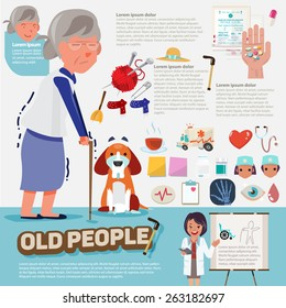 old people with graphic icons set - vector illustration