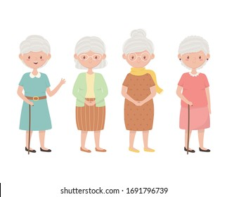 old people. group grandmothers, elderly persons together cartoon characters vector illustration