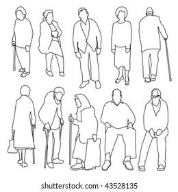 Old People Line Style Set