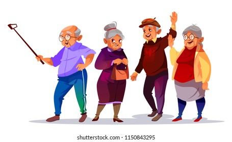 Old people making photo selfie vector illustration. Cartoon elderly man and woman smiling with hello hand gesture for smartphone photograph on vacation or travel