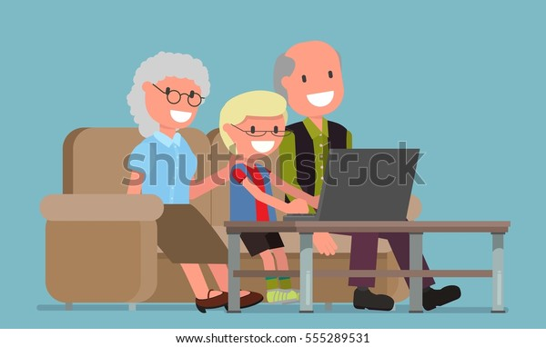 Old People Old Man Woman Computer Stock Vector (Royalty Free