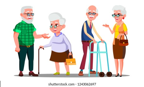 Old People Man, Woman Standing, Walking With Stick Vector. Senior Cartoon Person Set Vector. Isolated Cartoon Illustration