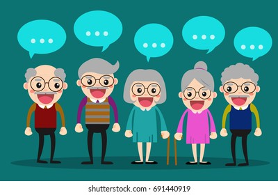 Old people meeting and talking together/ elderly society vector illustration concept