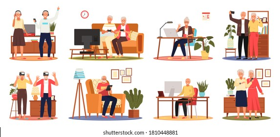 Old people play video game. Set of modern senior people with different gadgets. Oldster education on computer. Old progressive people use modern technology. Learning to use PC. Elderly couple gadgets