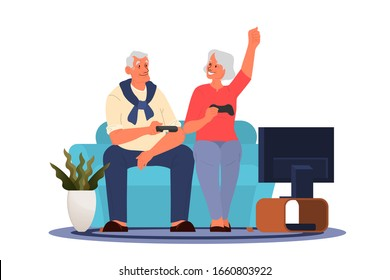 Old people playing video games. Seniors playing video games with console controller. Elderly character have a modern lifestyle. Isolated vector illustration in cartoon style
