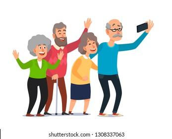 Old people selfie. Senior people taking smartphone photo, happy laughing group of seniors. Aging grandfather and grandmother recreation, senior take selfie cartoon illustration