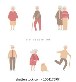 Old people, seniors, pensioners set. Grandmothers, grandfathers collection. Happy pensioners dancing, walking, playing with cat