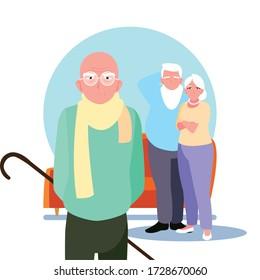 old people sharing at home vector illustration design