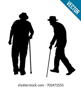 Old people silhouette on a white background, vector illustration