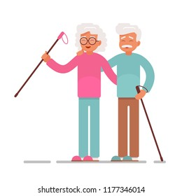 Old people sport activities.Happy Senior Couple making nordic walking. Vector illustration isolated from white background
