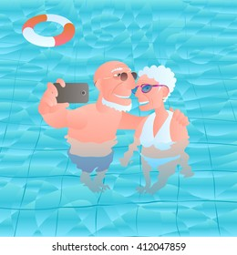 Old people in swimming pool vector illustration. Concept image, design element of modern lifestyle of old people - happy, active, smiling, traveling, making selfie, photo