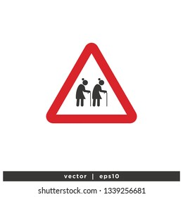 old people walk sign vector