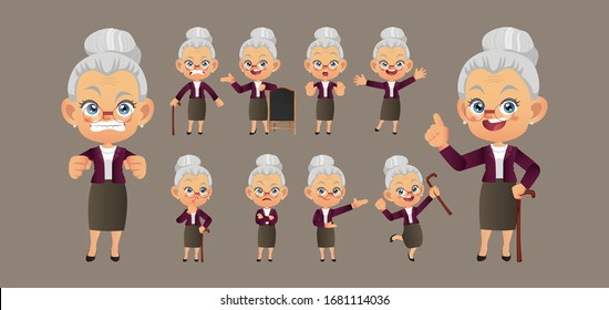 Old person with different poses. vector