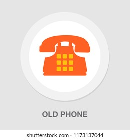 old phone icon - vector telephone machine illustration - phone symbol isolated, communication call icon
